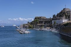 Marina by the  the Citadel or Old Fortress in Corfu town on the the Greek island of Corfu Royalty Free Stock Photos