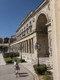 Museum in Corfu town on the Island of Corfu. The city of Corfu stands on the broad part of a peninsula, whose termination in the Venetian citadel is cut off from Royalty Free Stock Photo