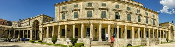 Museum in Corfu town on the Island of Corfu. The city of Corfu stands on the broad part of a peninsula, whose termination in the Venetian citadel is cut off from Stock Image