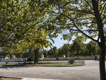Park in Corfu town on the Greek Island of Corfu. The city of Corfu stands on the broad part of a peninsula, whose termination in the Venetian citadel is cut off Royalty Free Stock Photos