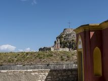 The Old Fortress in Corfu town on the Greek Island of Corfu Royalty Free Stock Images