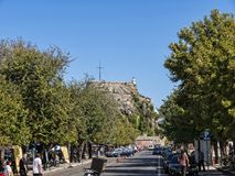 The Old Fortress in Corfu town on the Greek Island of Corfu Stock Images