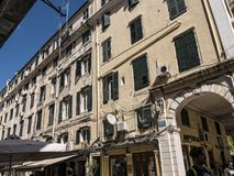 Buildings in Corfu town on the Greek Island of Corfu. The city of Corfu stands on the broad part of a peninsula, whose termination in the Venetian citadel is cut Royalty Free Stock Image