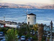 Windmill in the bay of Corfu Town on  the Greek Island of Corfu Stock Photos