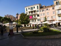 Square in the old town in Corfu town on the the Greek island of Corfu. The city of Corfu stands on the broad part of a peninsula, whose termination in the Royalty Free Stock Photography