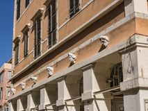 Building in the old town in Corfu town on the the Greek island of Corfu. The city of Corfu stands on the broad part of a peninsula, whose termination in the Royalty Free Stock Image