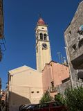 St Spiro Church in Corfu town on the the Greek island of Corfu. The city of Corfu stands on the broad part of a peninsula, whose termination in the Venetian Stock Photo