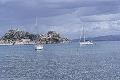 Panorama of the Bay at Corfu town on the the Greek island of Corfu. The city of Corfu stands on the broad part of a peninsula, whose termination in the Venetian Stock Photography