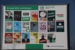 City council elections Netherlands 2018  : Billboard with all parties who have candidates in Rotterdam Nesselande. L including local parties and PVV Royalty Free Stock Images