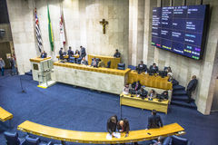 City council. Sao Paulo, Brazil, August 02, 2016. Municipal government or city council working inside Town hall on Anchieta Palace in downtown Sao Paulo Royalty Free Stock Image