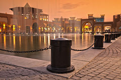 City courtyard center with a water fountain royalty free stock image