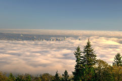 City covered with thick fog Royalty Free Stock Photo