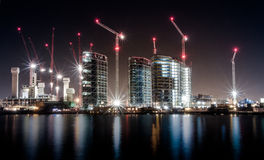 City of cranes. At night in London royalty free stock photography