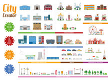 City Creator Full Collection with 76 elements. Public buildings, Religious buildings, Food and beverage buildings, Entertainment and Leisure areas, Office stock illustration