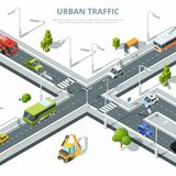 City crossroad. Illustrations of urban traffic with different cars. Vector isometric pictures. Traffic street crossroad with car and other transport vector illustration