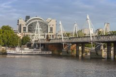 Hungeford Bridge and Golden Jubilee Bridges in the morning, Lond Royalty Free Stock Images