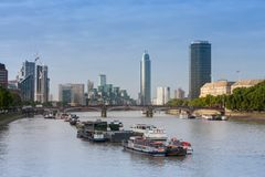 City cruise ships on the river Thames, on background Lambeth  Br Royalty Free Stock Photo