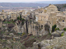 The city of Cuenca, Spain. The city of Cuenca is located between the rivers Jucar and Huecar, with its magnificent gorges. Of interest are: the old city, the Stock Photo