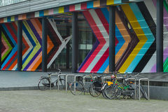 City cycle parking lot in The Hague Netherlands at modern architecture background Stock Image