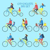 Various lifestyle city cyclists set Royalty Free Stock Photography