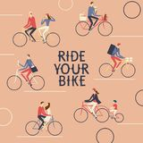 Various lifestyle city cyclists poster. City cyclists poster. Including families with children, delivery, postman, pairs. Ride your bike title Royalty Free Stock Image