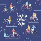City cyclists poster. Including families with children and pairs. enjoy your life title Stock Photography
