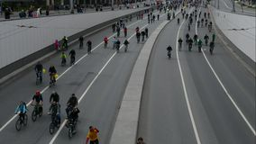 City of cyclists. Thousands of cyclists on a city street. MAY 28, 2017, MOSCOW, RUSSIA: City of cyclists. Thousands of cyclists on a city street. Traditional stock footage