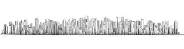 City. 3D representation, side view isolated on white background Stock Photo