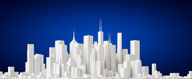 City. 3D representation, side view over blue background Royalty Free Stock Photography