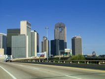 The city of Dallas. Downtown Dallas and freeways that connect the city Stock Images