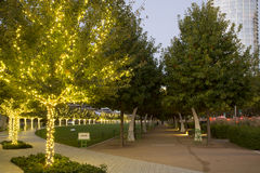 City Dallas Klyde Warren Park on sunset Stock Photography