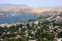 City of the Dalles Oregon. The city of the Dalles in Oregon and I84 East a long bridge a dam and the Columbia river Stock Photography
