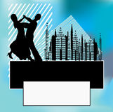 City Dance Background. Background illustration with a ballroom dancing couple against a vintage city skyline royalty free illustration