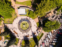 City day of Kaliningrad. Bird-eye view of the crowd of people near fountain during the city day of Kaliningrad Stock Photos