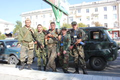 City day in Luhansk. Ukraine. War in the east Stock Photo