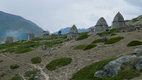 City of the dead. Ancient cemetery. A cultural and historical monument at El-Tubu, Caucasus, Russia stock video footage