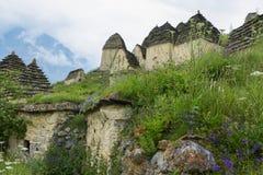 City of the dead. Medieval necropolis. Dargavs. Republic of North Ossetia, Russia stock photos