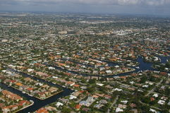 City of Deerfield Beach and Pompano. Deerfield Beach and Pompano Beach overview stock image