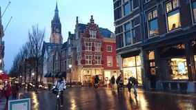 City of Delft in the rain. Royalty Free Stock Photography