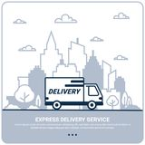 City delivery concept. Thin line styled Delivery truck. Delivery service Shipping by car or truck. outline style design royalty free illustration