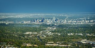City of Denver Panorama. City of Denver Panoramic View on East. Denver, Wheat Ridge, Arvada, Applewood and Lakewood Colorado. American Cities Photo Collection stock images