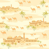 City in the desert. Islamic seamless pattern with the image of the ancient Middle Eastern city. A mirage in the desert stock illustration