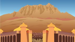 City in the Desert Vector Illustration. This is illustration of a City in the Desert with huge Islamic structures upfront and huge mountains in the background stock illustration