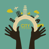 City design. Over blue background vector illustration Stock Photos