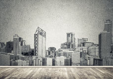 City design on wall Royalty Free Stock Photo