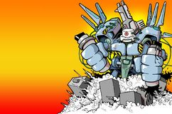 City destroyer. Giant city destroter graffiti robot Stock Photos