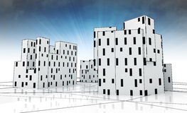 City development as cubic conceptual study with blue sky Royalty Free Stock Photography