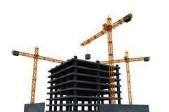 City Development. Construction Site with Multi Levels Building Construction Isolated on White Background. 3D Render Illustration Stock Photography