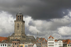City of Deventer, The Netherlands. The city of Deventer, The Netherlands, photographed as dark clouds pass by. Deventer is well known for its old and beautifull Royalty Free Stock Photography