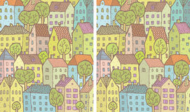 City Differences Visual Game. Task: find 10 differences! Solution in hidden layer ( file only). Illustration is in eps8  mode Stock Photo